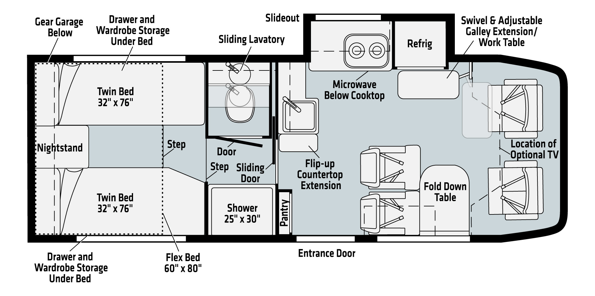 Winnebago EKKO 25A Floorplan