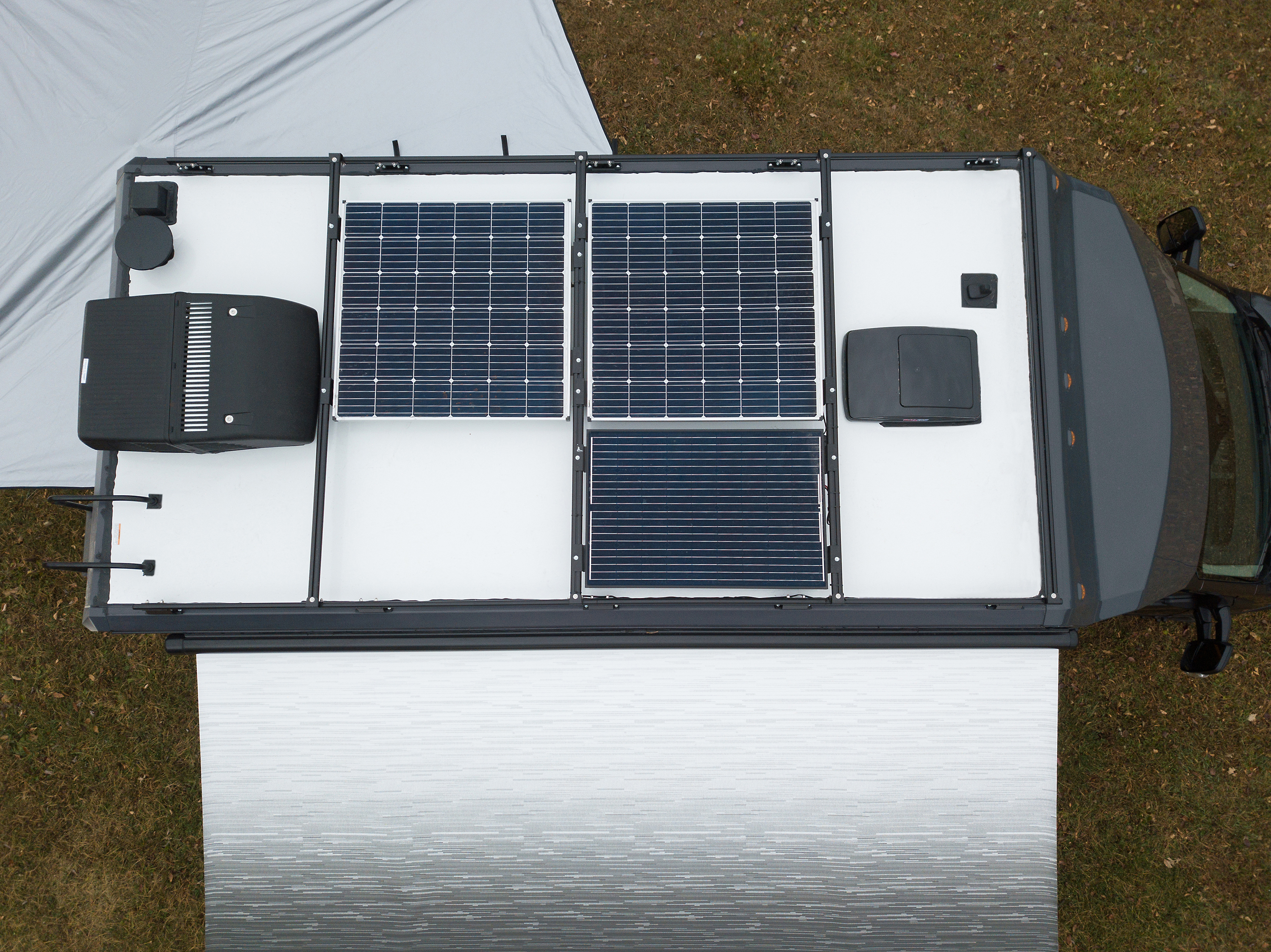 Three solar panels combine for 455-watts of power production